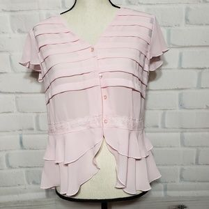 Oscar de la Renta pink 4 button blouse